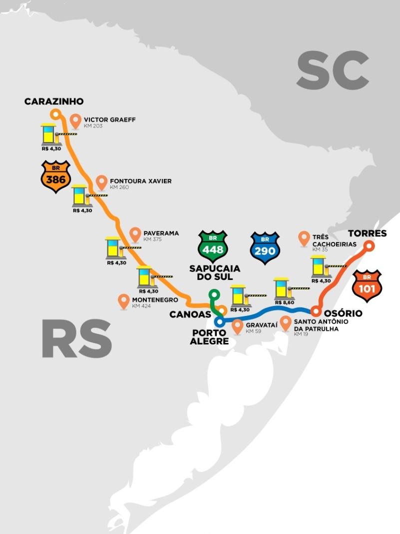 Mapa das rodovias federais que serão concedidas à iniciativa privada