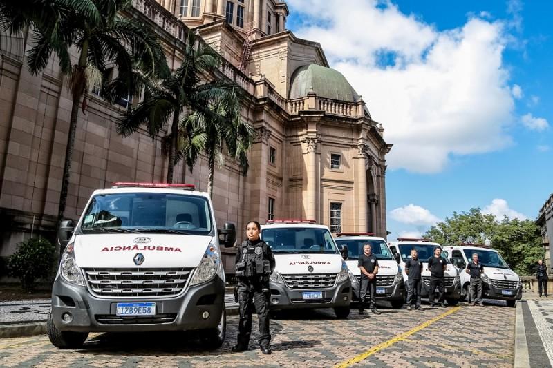 PORTO ALEGRE, RS, BRASIL, 08/04/2019 - Governador Eduardo Leite participa da entrega de viaturas e EPIs para as Forças de Segurança do Estado. Fotos: Gustavo Mansur / Palácio Piratini