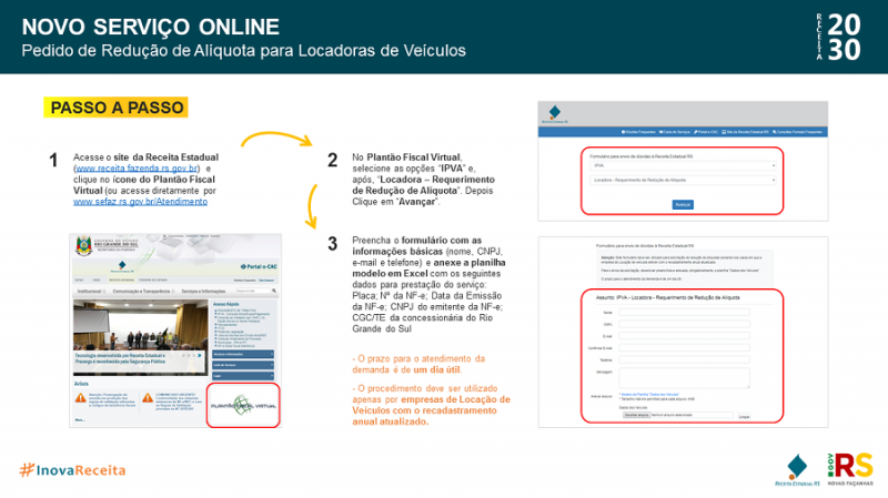 Passo a Passo   Novo Serviço Online   Redução de Alíquota de Locadoras de Veículos