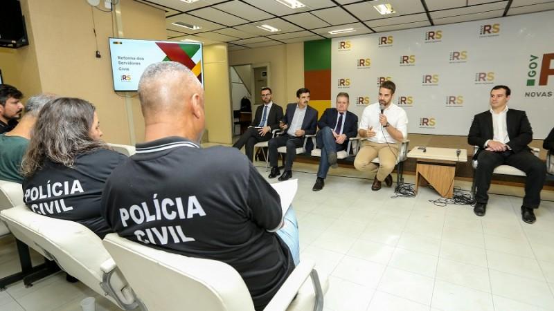 PORTO ALEGRE, RS, BRASIL, 10.10.2019 - Reunião com sindicatos da Polícia Civil.  Fotos: Gustavo Mansur/ Palácio Piratini