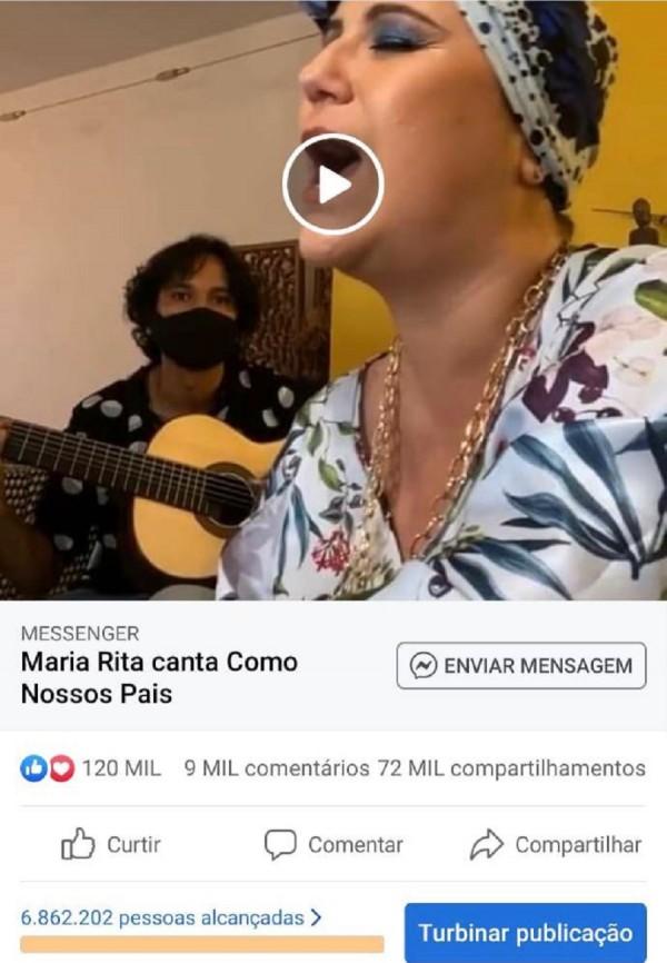 Trecho da live de Maria Rita na CCMQ publicado no Facebook foi um dos conteúdos com maior engajamento recente no Brasil