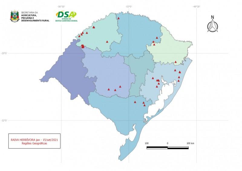 mapa foco de raiva herbívora outubro 2021